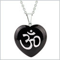 Amulet Ancient OM Ohm Egyptian Powers Protection Energy Black Agate Puffy Heart Pendant 18 Inch Necklace