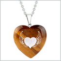 Amulet Angel Wings and Heart Love Powers Protection Energy Tiger Eye Puffy Heart Pendant 18 Inch Necklace