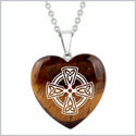 Amulet Viking Celtic Cross Circle Powers Protection Energy Tiger Eye Puffy Heart Pendant 18 Inch Necklace