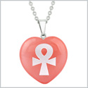 Amulet Ankh Egyptian Powers of Life Energy Cherry Simulated Quartz Puffy Heart Pendant 18 Inch Necklace