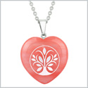 Amulet Tree of Life Magical Powers Energy Cherry Simulated Quartz Puffy Heart Pendant 18 Inch Necklace