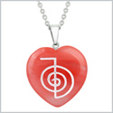 Amulet Choku Rei Reiki Magical Powers Energy Cherry Simulated Quartz Puffy Heart Pendant 18 Inch Necklace