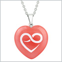 Amulet Infinity Eternity Heart Love Powers Cherry Simulated Quartz Puffy Heart Pendant 18 Inch Necklace
