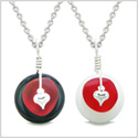 Sea Glass Yin Yang Love Couples BFF Set Royal Red Heart Black Agate White Quartz Donut Amulet Necklaces