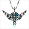 Archangel Samael Angel Wings Protection Shield Magic Powers Sky Blue Crystal Pendant 18 inch Necklace