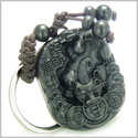Amulet Sandal Wood Magic Dragon and Lucky Feng Shui Coins Good Luck and Protection Powers Keychain Charm Blessing