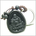Amulet Sandal Wood Magic Forever Happy Buddha and Lucky Lotus Flower Good Luck and Protection Powers Keychain Charm Blessing