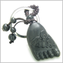 Amulet Sandal Wood Cute Magic Foot and Lucky Bat with Feng Shui Coin Good Luck and Protection Powers Keychain Charm Blessing