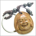 Amulet Sandal Wood Magic Laughing Happy Buddha Lucky Feng Shui Lotus Good Luck and Protection Powers Keychain Charm Blessing