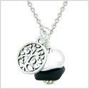 Sea Glass Icy Frosted Waves Lucky Tree of Life Black White Positive Energy Amulet 22 Inch Necklace
