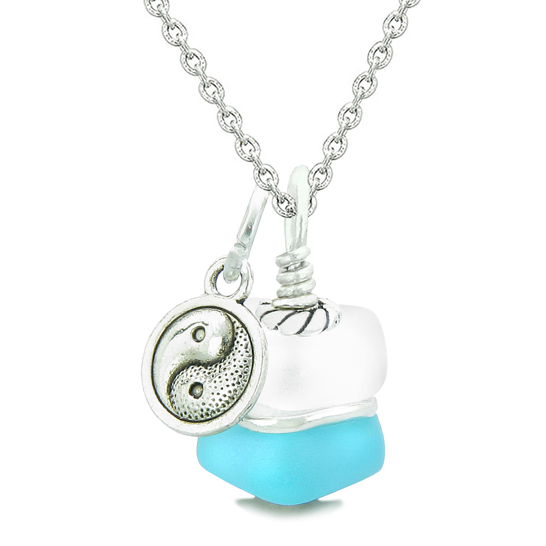 Sea Glass Icy Frosted Waves Aqua Blue Positive Powers Amulet Pendant 22 Inch Necklace