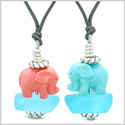 Icy Sea Glass Sky Blue Cloud Celeste and Pink Lucky Elephants Love Couples BFF Set Amulet Necklaces
