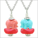 Icy Sea Glass Royal Red Cloud Pink and Celeste Lucky Elephants Love Couples BFF Set Amulet Necklaces