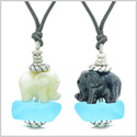 Icy Sea Glass Sky Blue Cloud White and Black Lucky Elephants Love Couples BFF Set Amulet Necklaces