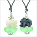 Icy Sea Glass Mint Green Cloud White and Black Lucky Elephants Love Couples BFF Set Amulet Necklaces