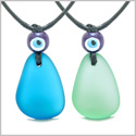 Free Form Unique Sea Glass Cobalt Blue Mint Green Love Couples BFF Set Protection Amulet Drop Necklaces
