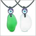 Free Form Unique Sea Glass Forest Green Mist White Love Couples BFF Set Protection Amulet Drop Necklaces