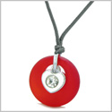Sea Glass Lucky Donut Crystal Heart Charm Adorable Royal Red Positive Energy Amulet Adjustable Necklace