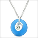 Sea Glass Lucky Donut Crystal Heart Charm Adorable Ocean Blue Positive Energy Amulet 22 Inch Necklace