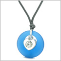 Sea Glass Lucky Donut Crystal Heart Charm Adorable Ocean Blue Positive Energy Amulet Adjustable Necklace