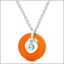 Sea Glass Lucky Donut Crystal Heart Charm Adorable Royal Orange Positive Energy Amulet 18 Inch Necklace