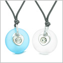 Sea Glass Lucky Donut Crystal Heart Charm Mist White Sky Blue Love Couples BFF Set Amulet Necklaces