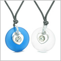 Sea Glass Lucky Donut Crystal Heart Charm Mist White Ocean Blue Love Couples BFF Set Amulet Necklaces