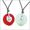 Sea Glass Lucky Donut Crystal Heart Charm Royal Red Mint Green Love Couples BFF Set Amulet Necklaces