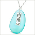 Large Aqua Blue Sea Glass Inspirational Strong is Beautiful Amulet Water Drop 18 Inch Necklace