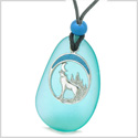 Large Aqua Blue Frosted Sea Glass Howling Wolf Protection Amulet Puffy Water Drop Adjustable Necklace