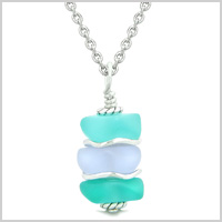 Sea Glass Icy Frosted Waves Sky Blue Pastel Purple Positive Powers Amulet Pendant 22 Inch Necklace