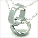 Amulet Love Set Hematite Gemstone Rings Boyfriend Girlfriend or Friendship Pendant Necklace on Stainless Steel Necklaces