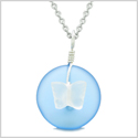 Lucky Butterfly Sea Glass Donut Positive Energy Amulet Cloud Blue and White Pendant 22 Inch Necklace