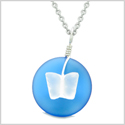 Lucky Butterfly Sea Glass Donut Positive Energy Amulet Ocean Blue and White Pendant 18 Inch Necklace