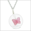 Lucky Butterfly Sea Glass Donut Positive Energy Amulet White Fuschia Pink Pendant 22 Inch Necklace