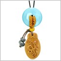 Magic Snake Fortune Car Charm or Home Decor Blue Simulated Cats Eye Lucky Coin Donut Protection Amulet