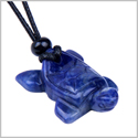 Amulet Lucky Charm Turtle Sodalite Gemstone Good Luck Powers Hand Carved Pendant Adjustable Cord Necklace