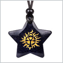 Magical Super Star Ankh Sun Life Powers Amulet Blue Goldstone Lucky Charm Pendant Adjustable Necklace