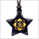 Magical Super Star Ancient OM Ohm Tibetan Mantra Amulet Goldstone Lucky Charm Pendant Adjustable Necklace