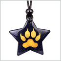 Magical Super Star Brave Wolf Paw Courage Powers Amulet Goldstone Lucky Charm Pendant Adjustable Necklace