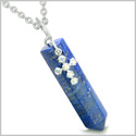 "Amulet Crystal Point Wand Holy Cross Swarovski Elements Charm Lapis Lazuli Gemstone Spiritual Energy Pendant on 18"" Necklace"