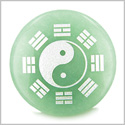 Yin Yang BA GUA Eight Trigrams Amulet Green Aventurine Magic Gemstone Circle Good Luck Powers Keepsake Individual Totem