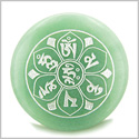 Tibetan Om Mani Padme Hum Mantra Amulet Green Aventurine Magic Gemstone Circle Good Luck Powers Keepsake Individual Totem