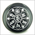 Tibetan Om Mani Padme Hum Mantra Amulet Black Onyx Magic Gemstone Circle Spiritual Powers Keepsake Individual Totem