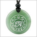 All Seeing and Feeling Eye of Horus Egyptian Amulet Green Quartz Magic Circle Spiritual Pendant Necklace