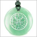 Secret Seal of Solomon Protection Powers Talisman Green Aventurine Magic Gemstone Circle Spiritual Powers Pendant Necklace