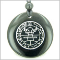 Secret Seal of Solomon Protection Powers Talisman Black Onyx Magic Gemstone Circle Spiritual Powers Pendant Necklace