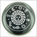 Positive Energy Talisman of Sun Black Onyx Magic Gemstone Circle Spiritual Powers Keepsake Individual Totem