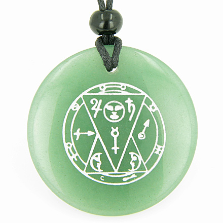 Best Amulets Sun Talisman from the Sage of the Pyramids Green Aventurine Magic Gemstone Circle Good Luck Powers Pendant Necklace