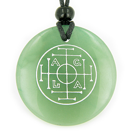 Best Amulets Fortune, Wealth and Success Talisman Green Aventurine Magic Gemstone Circle Good Luck Powers Pendant Necklace